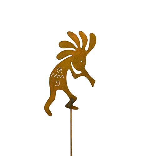 Garden Stake Metal Yard Art,Dancing Kokopelli,Lawn Decor,Outdoor,Rust Patina,Made in USA