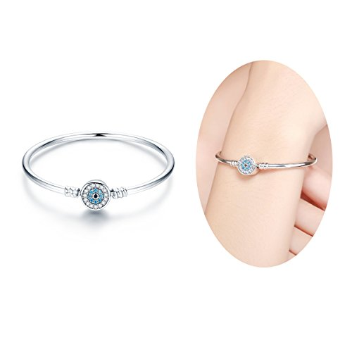 let for Charms in 100% 925 Sterling Silver with Sapphire Gemstones Evil Eye Clip Lock Stopper For Bead Charms (17cm/6.7inch)BISAER ()