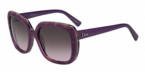 CHRISTIAN DIOR Taffetas 1 2F5SB Brown Havana Purple Leather Sunglasses - Purple Lady Dior