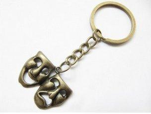 Bronze Drama Keychain,drama Jewelry, Comedy Tragedy, Drama Mask Charm, Drama Mask Keychain