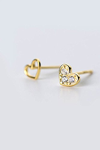 Generic S925 sterling silver stud earrings women girls lady Korean asymmetric hollow diamond love small fresh sweet heart-shaped earrings