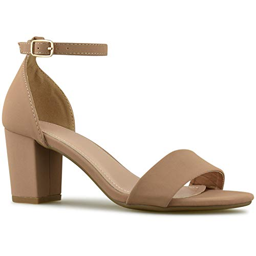 (Premier Standard - Women's Strappy Chunky Block High Heel - Formal, Wedding, Party Simple Classic Pump, TPS2019100012 Tan Size 7)