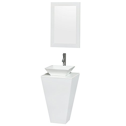 Wyndham Collection Esprit 20 inch Pedestal Bathroom Vanity in Glossy White, White Man-Made Stone Countertop, Pyra White Porcelain Sink, and 20 inch Mirror ()
