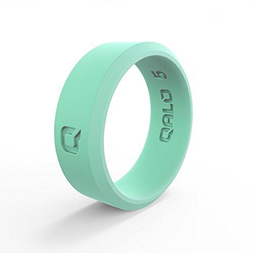 (QALO Women's Aqua Foxfire Modern Q2X Silicone Ring Size 10)