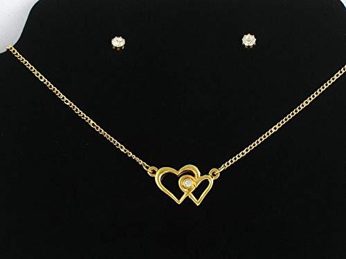 Vintage 1991 AVON 'Loving Hearts' Birthstone Gift Set Heart Necklace & Rhinestone Earrings w Original Box. Double Heart Necklace. Avon ()