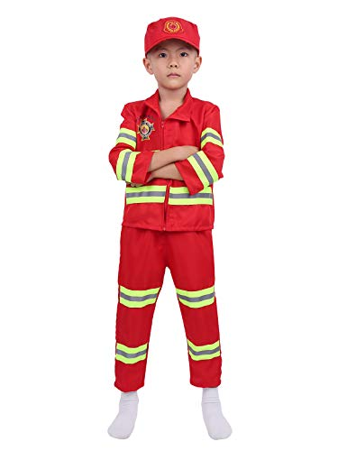 MSemis Kids Boys Girls Firefighter/Fireman Costume Role Play