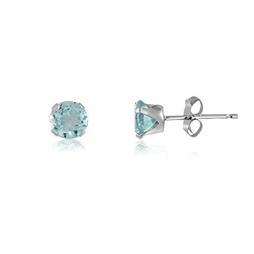 (2MM Classic Brilliant Round Cut CZ Sterling Silver Stud Earrings - AQUAMARINE BLUE - Or Choose From 2mm to 12mm. 2-AQUA)