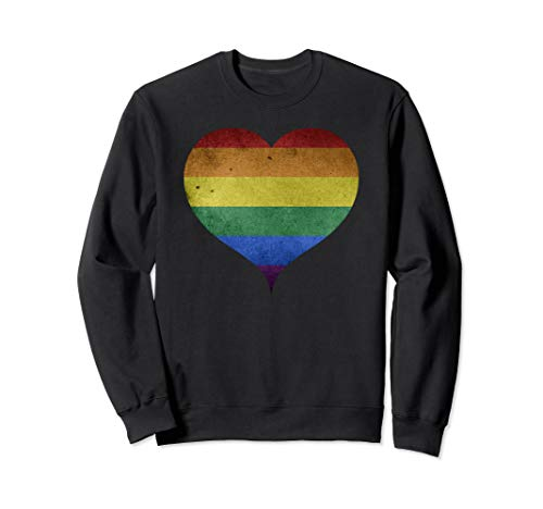 Rainbow Flag Heart Gay Pride LGBTQ Vintage Retro Women Men  Sweatshirt