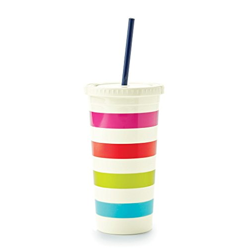 Lilly Pulitzer Tumbler - Kate Spade New York Tumbler with Straw, Candy Stripe, Multi