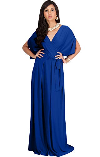 KOH KOH Petite Womens Long Formal Short Sleeve Cocktail Flowy V-Neck Casual Bridesmaid Wedding Party Guest Evening Cute Maternity Work Gown Gowns Maxi Dress Dresses, Cobalt/Royal Blue S 4-6