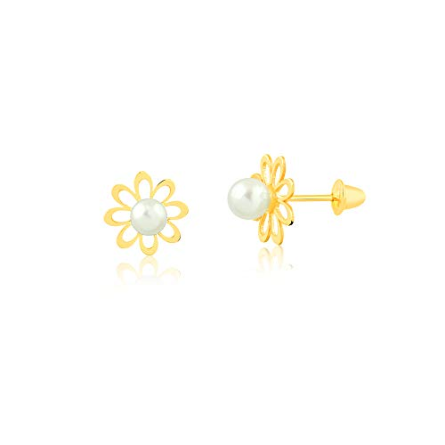 18k Hypoallergenic Solid Yellow Gold Little Flower with Round White Freshwater Cultured Pearl Push Backs Stud Earrings for Newborn, Babies and Little Girls (2 mm)