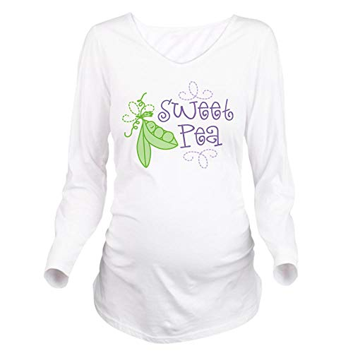 CafePress Sweet Pea Long Sleeve Maternity T-Shirt, Cute and Funny Pregnancy Tee White (Maternity Pea Sweet)