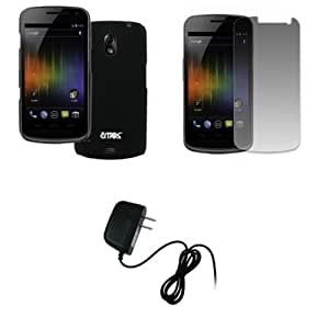 EMPIRE Verizon Samsung Galaxy Nexus I515 Black Stealth Rubberized Hard Case Cover + Screen Protector + Home Wall Charger [EMPIRE Packaging]