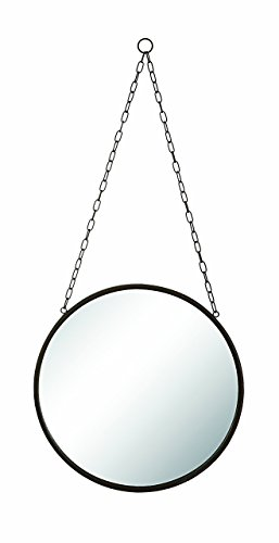 Decorative Hanging Wall Mirror with PU Leather Strap, Hexagonal Mirror with Adjustable Strap Small, PU Leather