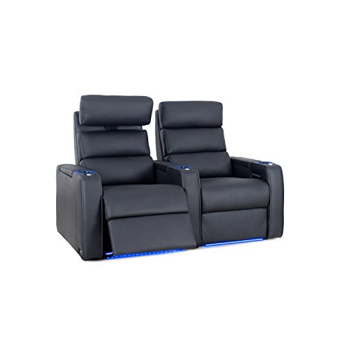 Octane Seating Dream HR Series Home Stadium Seating - Black Top Grain Leather - Power Recline - Motorized Headrest - Lighted Cup Holders - Straight Row 2