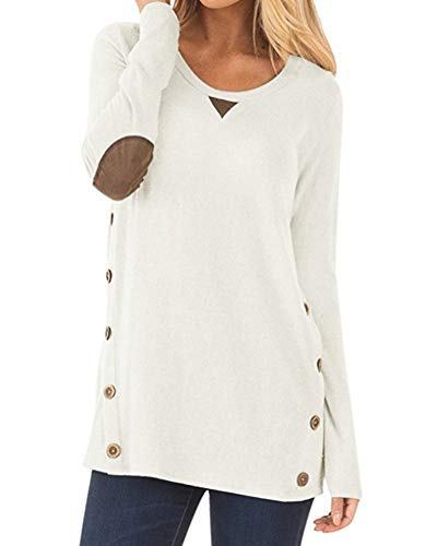 Long Sleeve Pullover - Aliex Women's Tunic Top Casual Long Sleeve Blouse T-Shirt Faux Suede Button Decor White L