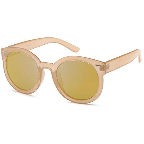 CATWALK Womens Oversized Cat Eye Plastic Fashion Frame Sunglasses with Mirror Flash Lens Option – Mirror Copper Lens on Beige - Sunglasses Beige