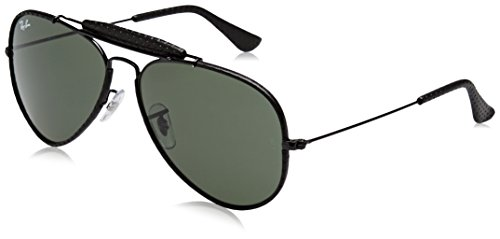 Ray-Ban Men's Craft Aviator Sunglasses, Leather Black, 58 - Ban Leather Sunglasses Ray