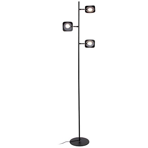 Brightech Tree Spotlight LED Floor Lamp - Very Bright Reading, Craft and Makeup 3 Light Standing Pole - Modern Dimmable & Adjustable Panels, Minimal Space Use - Black