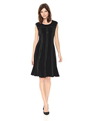 Yoke Calvin Klein Womens (Calvin Klein Women's a-Line Dress With Studs, Black, M)