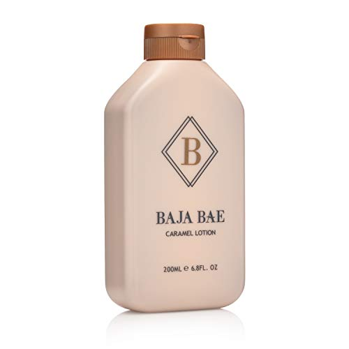 BAJA BAE Bronze Tanning Lotion for Indoor Tanning Beds - 3 in 1 Sunless Tanning Lotion, Tinted Moisturizer and Highlighting Face Tanner - Caramel Scent, 200ml (Best Gradual Tanning Lotion For Pale Skin)