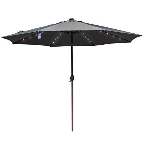 Sundale Outdoor 11FT 40 LED Lights Aluminum Patio Market Umbrella with Hand Push Tilt and Crank, Garden Pool Solar Powered Lighted Parasol, 8 Ribs, Gray