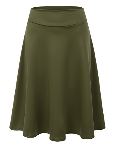 Doublju Womens High Waist Midi A-Line Skirt Olive Small