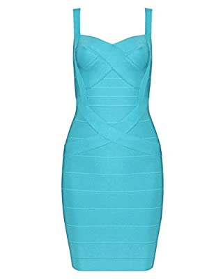 UONBOX Women's Rayon Cute Sleeveless Bodycon Bandage Strap Dress