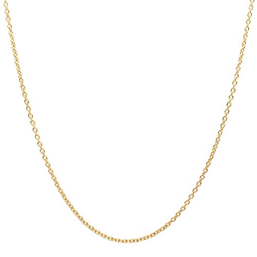 18K Solid Yellow Gold Diamond Cut Round Cable/Anchor Chain Necklace- perfect alone or for pendants (Yellow, 24)