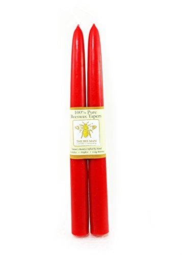 Pure Premium Beeswax Holiday Taper Candles by The Bee Man (Tulip (Tulip Wax Candle)