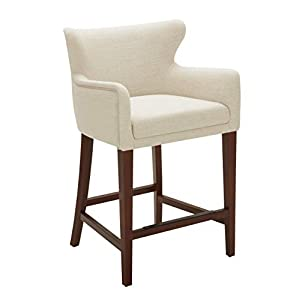 """Amazon Brand – Stone & Beam Wickstrom Upholstered Counter-Height Bar Stool with Arms, 37""""H, Slate Grey"""