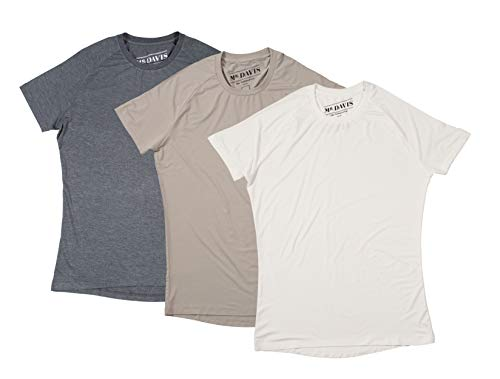 (Mr. Davis Comfort Fit Premium Bamboo Viscose Tailored Cut Crew Neck Men's Undershirt Variety 3 Pack Size Large in Tone, White and Grey )