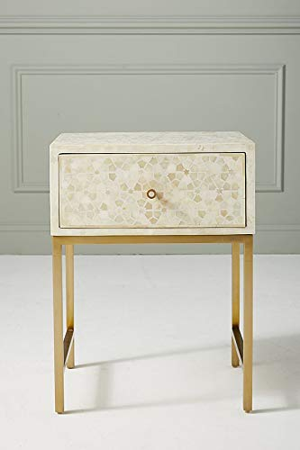 Star Design Bone Inlay Handmade Night Stand Side Table in White ()