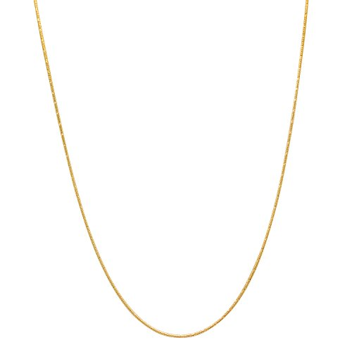 14k Yellow Gold Plated Thin 1.5mm Diamond-Cut Rounded Snake Link Chain, (Shiny Snake Chain)