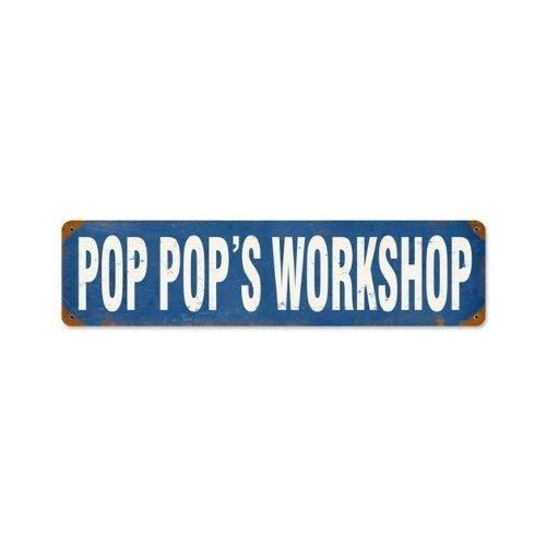 (Pop Pop's Workshop Vintage Metal Sign Grandpa Dad Garage Shop TIN Sign 7.8X11.8 INCH )