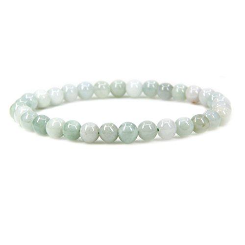 Jade Gems Round Bead - Natural Green White Jade Gemstone 6mm Round Beads Stretch Bracelet 7