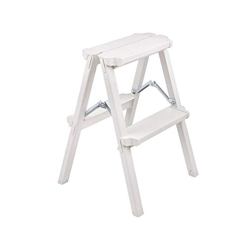 BFQY Folding Step Stool, 2 Step Ladder, Aluminium Double Sided Step Ladder Folding A-Type Step Stool, Load Bearing 150kg (Color : White)