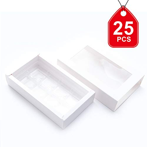 Chocolate Packaging Boxes Candy Boxes Small Gift boxes with Window Sleeves and Removable Tray (Empty Box without Candy or Chocolate Inside) Favor Box 7.08x4.13x1.42 inch, White, Pack of 25