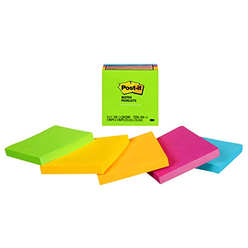 - Post-it Notes, Jaipur Colors, America's #1 Favorite Sticky Note, Call out Important Information, Recyclable, 3 in. x 3 in, 5 Pads/Pack, (654-5UC)