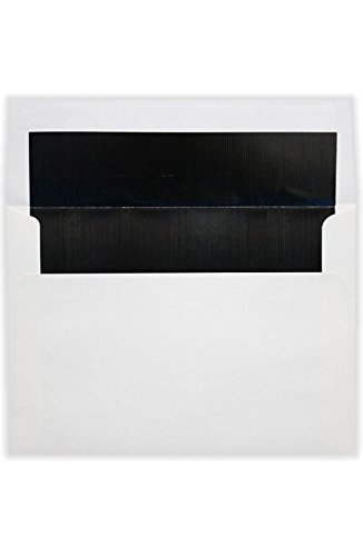 A7 Foil Lined Invitation Envelopes (5 1/4 x 7 1/4) w/Peel & Press - White w/Black LUX Lining (1000 Qty.) | Perfect for the HOLIDAYS, 5x7 Photos, Invitations, Greeting Cards and More! |FLWH4880-02-1M