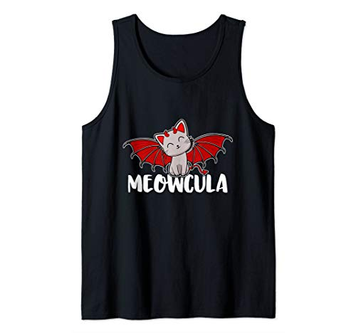 Cute Meowcula Vampire Kitty Cat Halloween Girls Women Kids Tank Top -