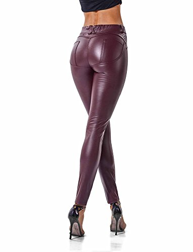 SEASUM Women's Faux Leather Leggings Pants PU Elastic Shaping Hip Push Up Black Sexy Stretchy High Waisted Tights -