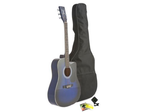 Fever Dreadnought Cutaway Acoustic Guitar Blue with Bag, Tuner and Strings, FV-700C-BL by Fever