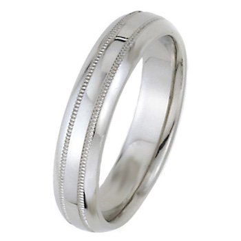 Wedding Bands; Platinum Men`s and Women`s Dome Park Ave Wedding Bands 5mm Wide Comfort Fit