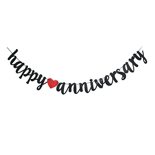Wedding Anniversary Banners (Happy Anniversary Banner, Vintage Red & Black Paper Sign for Wedding Anniversary Party Decoration)