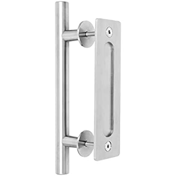 Large Stainless Steel Sliding Barn Door Handle (12\u201d) by CharmedLife - (Set Includes Both the Handle for Exterior of Door and the Flush Pull for Interior) ...  sc 1 st  Amazon.com & Amazon.com: Premium Stainless Steel Modern Barn Door Handle 12\