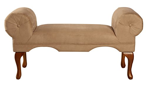 - ACME 05629 Aston Microfiber Rolled Arm Bench, Beige Finish