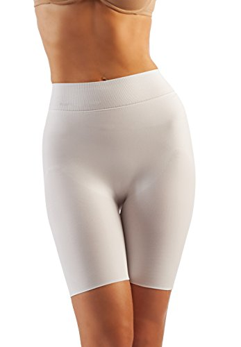 FarmaCell Shape 604 (White, M) Women's Double-Layer Shaping Control Shorts with Flat Belly Effect