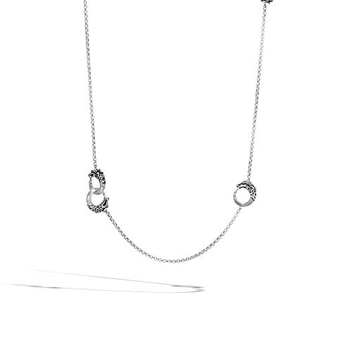 John Hardy Women's Legends Naga Silver- on 2.5mm Round Chain Necklace in Brushed Finish with Black Spinel, Size 36
