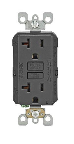 Leviton GFNT2-E Self-Test SmartlockPro Slim GFCI Non-Tamper-Resistant Receptacle with LED Indicator, 20 Amp, Black